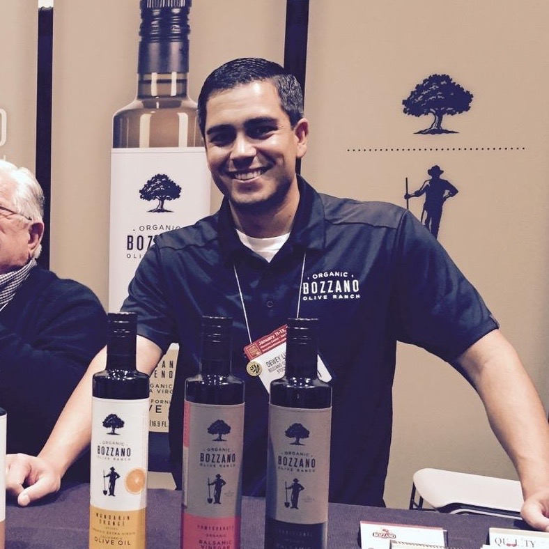 Dewey at the San Francisco Fancy Food Show 2015 - Bozzano Olive Ranch Booth